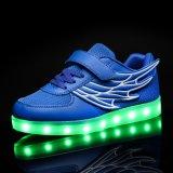 単一のヴェルクロの子供は再充電可能な明るい靴の蛍光性の靴に蹄鉄を打つ