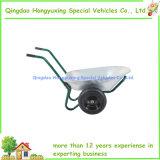 電流を通された鋼鉄皿が付いている2つの車輪の金属の手押し車