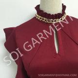 新式の女性は編むアクセサリ(BL-115)が付いている短い袖の細いブラウスを