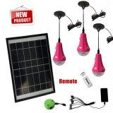 3W sistema de iluminación solar, control remoto, cargador solar