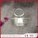 Tarro de cristal hexagonal para dulces con tapa de estaño de plata