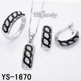 Manera 925 Sterling Silver Jewelry Set con Black and White CZ