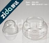 Nahrungsmittelglas-Plastikbehälter mit Plastikgläsern mit farbigen Kappen