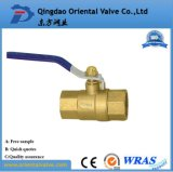 Media del agua y pulgada de cobre amarillo de la vávula de bola de la presión de la presión inferior 1-1/2
