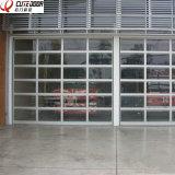 Porta secional de alumínio residencial de alta velocidade da garagem do vidro geado