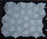 Плитка кристаллический белой мраморный мозаики конструкции цветка водоструйной Polished