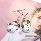 Monili bianchi Silver-Tone del regalo di natale degli orecchini di goccia del pupazzo di neve dello smalto