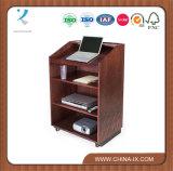 Pupitre de conférencier en bois personnalisé pour l'étage avec des étagères et 2 roues