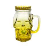 Tarro de masón formado cráneo del vidrio que da con el casquillo del metal del tornillo