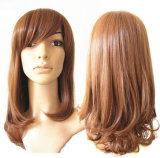 형식 밝은 밤색 배 꽃 롤 긴 머리 여자 가발
