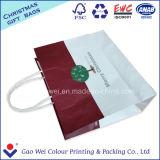 Bolsa blanca del regalo del bolso de compras del papel de Kraft para el embalaje
