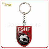 Promotion Gift Debossed Color Fill Logo Rectangle Metal Keychain