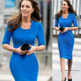 Autunno in Princess Sleeve Collar con il Ginocchio-Length Pencil Dress
