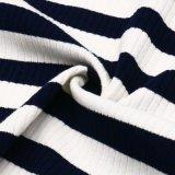 Tela rayada del Knit del Spandex del poliester del rayón para las tapas de las mujeres