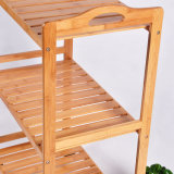 Handwerks-Möbel-Bambus legt Zahnstange mit Rad-Großverkauf beiseite