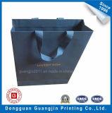 Kundenspezifischer neuer Entwurfs-blaue Farben-Papier-Einkaufstasche mit goldenem Firmenzeichen