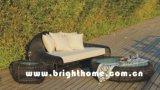 Sofá de mimbre Bp-858 determinado del jardín de los muebles de la rota redonda del PE