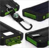 20000mAh Chargeur solaire Sunpower Panel Power Bank Résistant à l'eau, anti-poussière et résistant aux chocs Lumière LED, câble USB + crochet