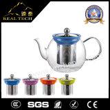 ケイ素のリングが付いている茶Infuserが付いている普及したホウケイ酸塩ガラスの茶鍋