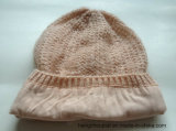 Donna Knitted Winter Lurex Hat con Jewels (HQW16048)