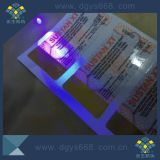 Impressão invisível UV da etiqueta da segurança do logotipo