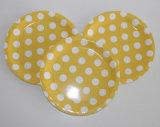 """"""" plaque à papier jaune de nourriture de déjeuner de POINT de polka 9"""