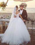 0062 fora do ombro uma linha vestidos de casamento traseiros do vestido de esfera da garganta V Tulle de V