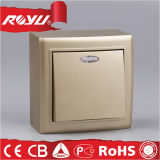 セリウムLED Surface Mounting Golden 86*86size Electric Wall Switch