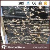 等級および低価格の黒および金のNero Portoroの大理石の平板