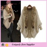 Mulheres Loose Knitted Winter Batwing Fur Collar Cardigan Sweater