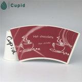 PE enduit de ventilateur de tasse de papier de Hztl, tasses de café jetables, blanc enduit de tasse de papier de PE