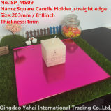 4mm Medium Square DarkローズGlass Mirror Candle Holder