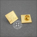 Pin chapeado do Lapel do emblema do metal ouro de bronze redondo (GZHY-CY-028)
