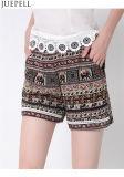 De las mujeres europeas del verano el nuevo cordón elástico de la cintura y americanas pone en cortocircuito la fábrica impresa floja del OEM de los pantalones de las yardas grandes de los pantalones de la playa