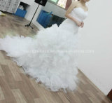 off-Shoulder reale Ruffle Bridal Dress di Sample Pleated Satin Wedding Gown
