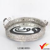 Cassetto decorativo dello specchio del metallo d'argento antico con la maniglia
