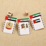 Pin отворотом UAE золота высокого качества изготовленный на заказ с пакетом карточки затыловки