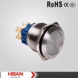 La UL del Ce impermeabiliza el interruptor de pulsador del metal del azul LED Illuninated de 25m m