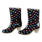 Dames et talon Rainboots, chaussures de mode haut de pluie