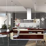 Philippinen-Projekt-lineare Form-hölzerner Furnier-Blattküche-Schrank (OP15-WV01)