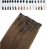 Clip doble del pelo humano de la trama el 100% en la extensión del pelo