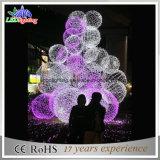 Новым большим рождественские елки шарика 3D напольным освещенные металлом