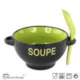 esmalte del tono de la taza dos de la sopa 17oz con dos manijas y cucharas