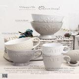 22oz de betaalde Mok van de Soep met het In reliëf gemaakte Ontwerp van de Woorden van de Koffie