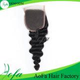 Estensione superiore dei capelli umani di Remy dei capelli dell'onda del corpo della chiusura del merletto