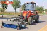 Cargador articulado nueva condición de la rueda de Qingdao Everun de 1.5 toneladas mini con el barrendero