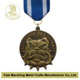 Médaillon antique d'or avec une corde, médaille chaude de souvenir de récompense de vente