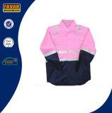 Commercio all'ingrosso di colore rosa dei bambini & dell'azzurro di blu marino con la camicia riflettente 100% del nastro di alta visibilità del trivello del cotone