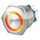 25mm Latching 2no2nc Waterproof Stainless Steel Push Button Switch (Ring Illuminated)