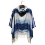 Poncho de poche de frange d'hiver de Madame Fashion Striped Acrylic Knitted (YKY4508)